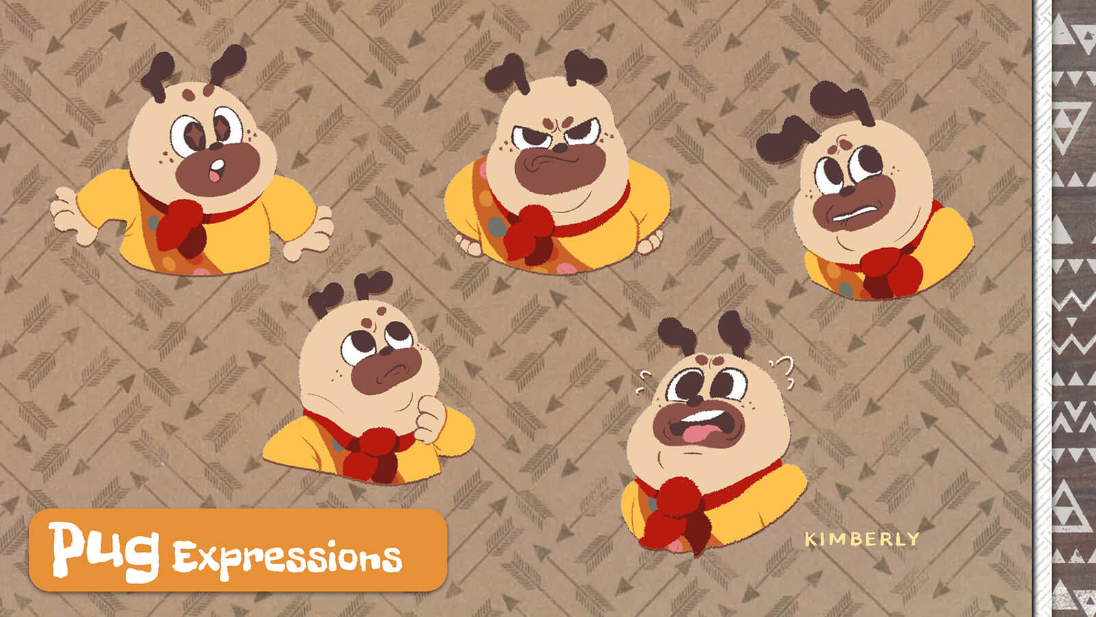 Facial expressions of the character Pug.
