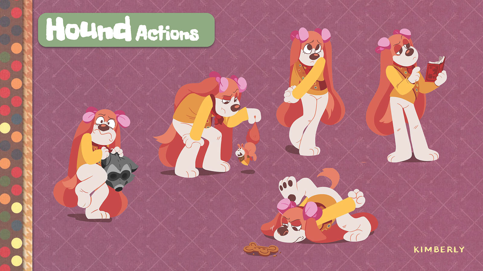 Sketches and examples of actions by the character Hound.