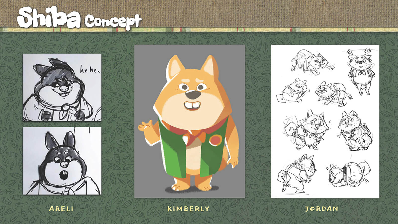 Concept art and sketches of the character Shiba.