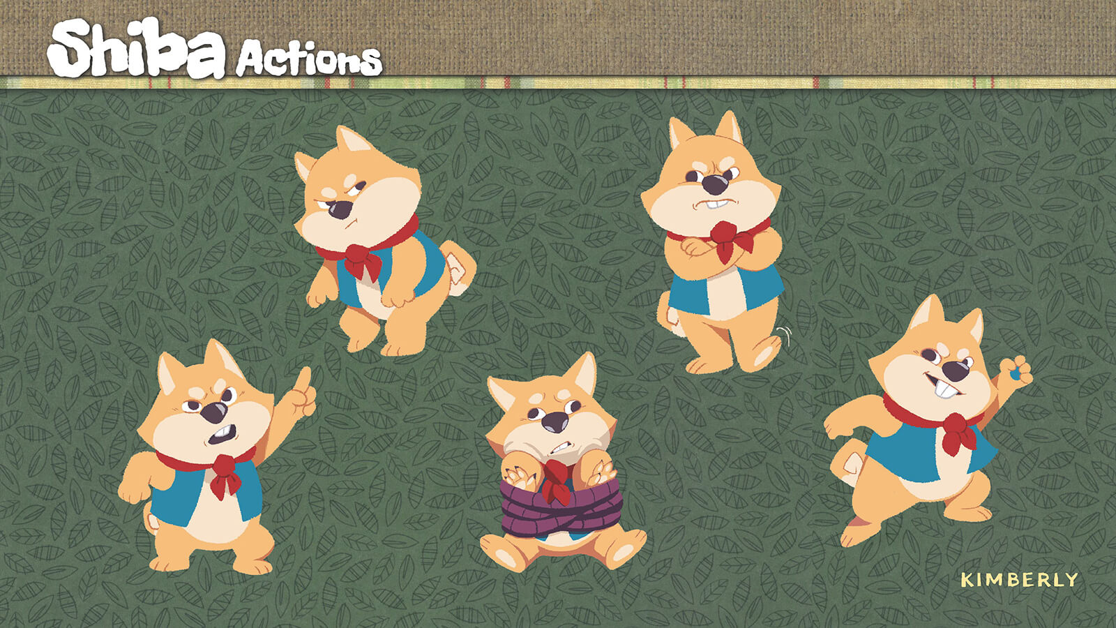 Sketches and examples of actions by the character Shiba.