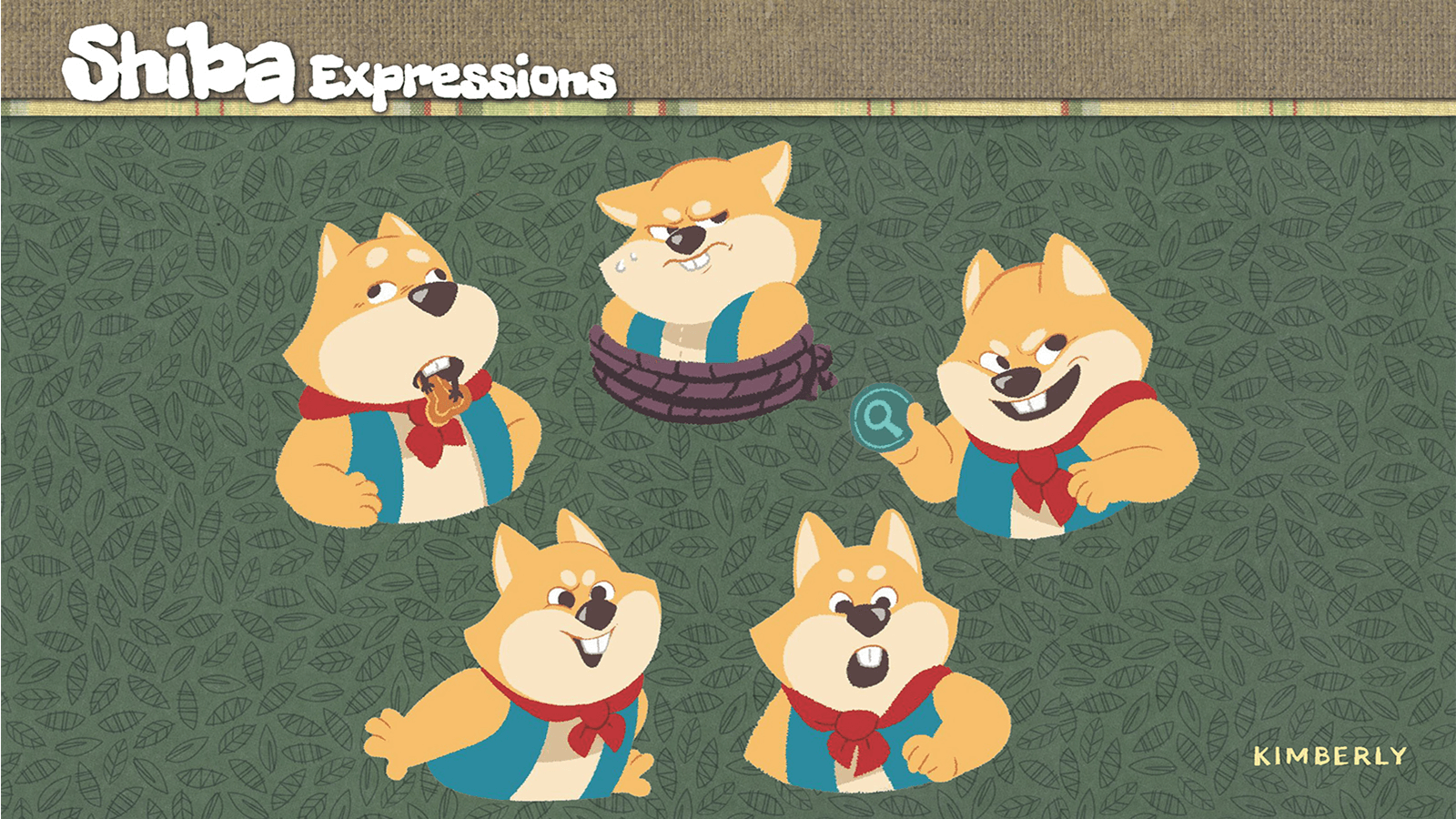 Facial expressions of the character Shiba.