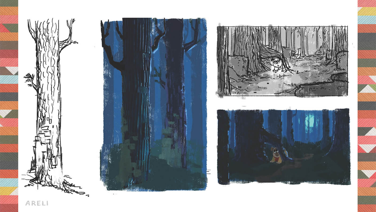 Concept art of the forest and trees in PrePAWsterous