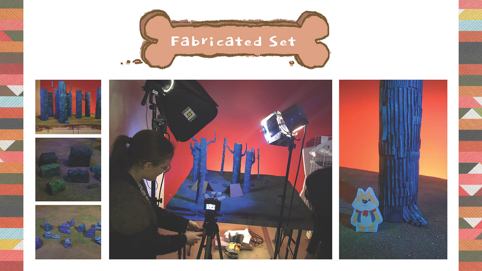 Photos of the practical, fabricated set for the animated film PrePAWsterous.