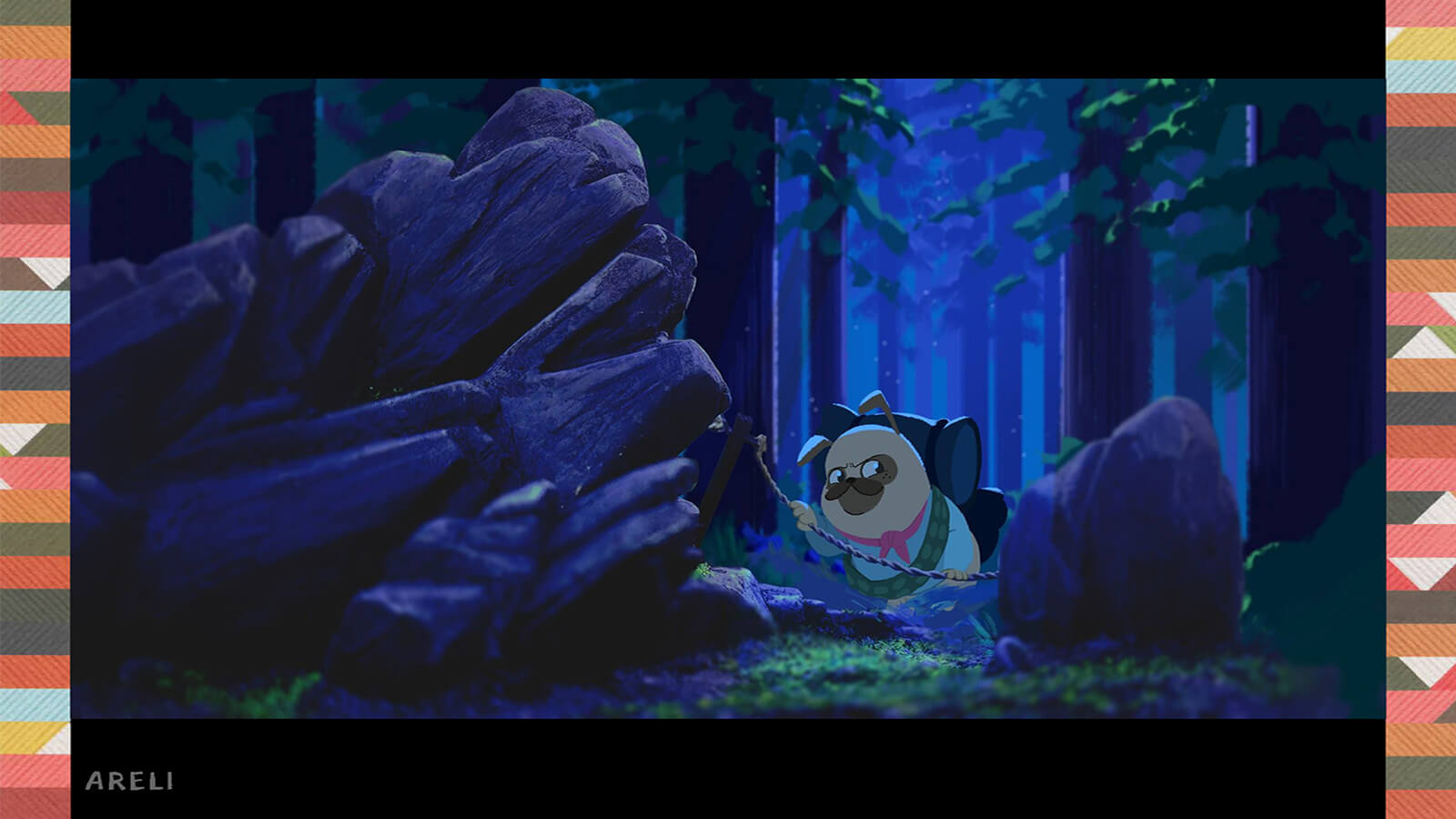 A pug walking in a darkened forest.