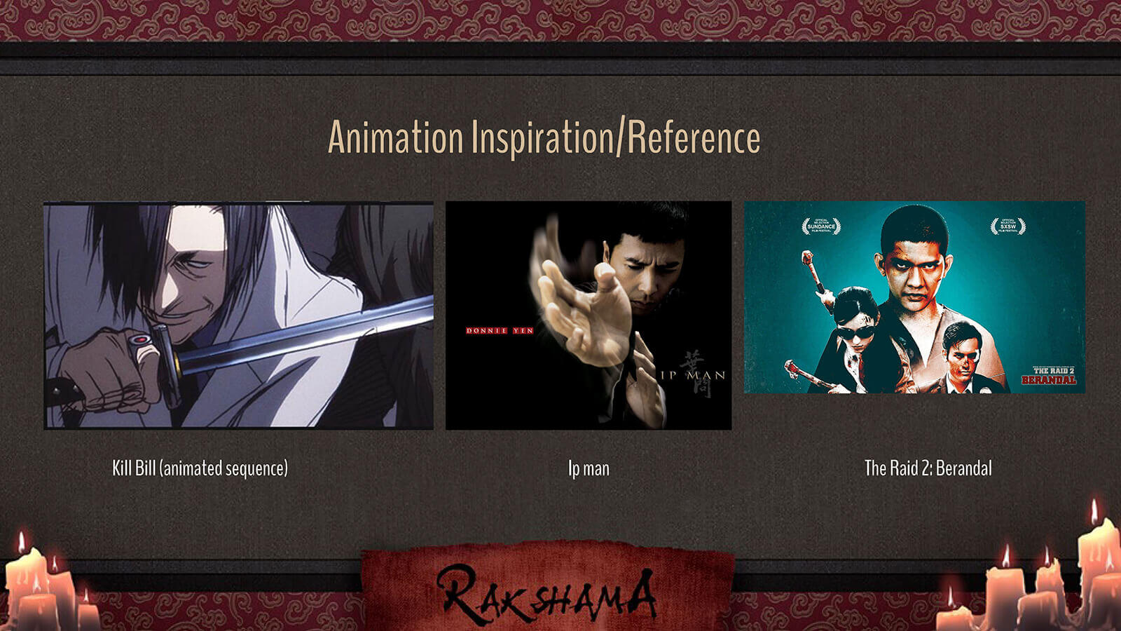 Animation Inspiration slide for the film Rakshama, including images of Kill Bill, Ip Man, and The Raid 2