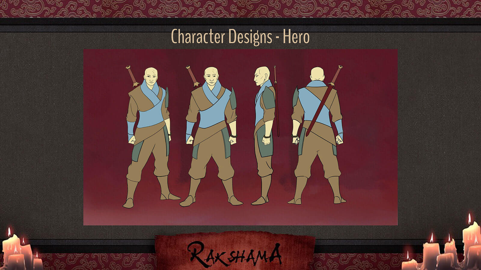 Character Design slide for the film Rakshama, depicting the Hero character, a warrior in a blue and brown clothing and sword