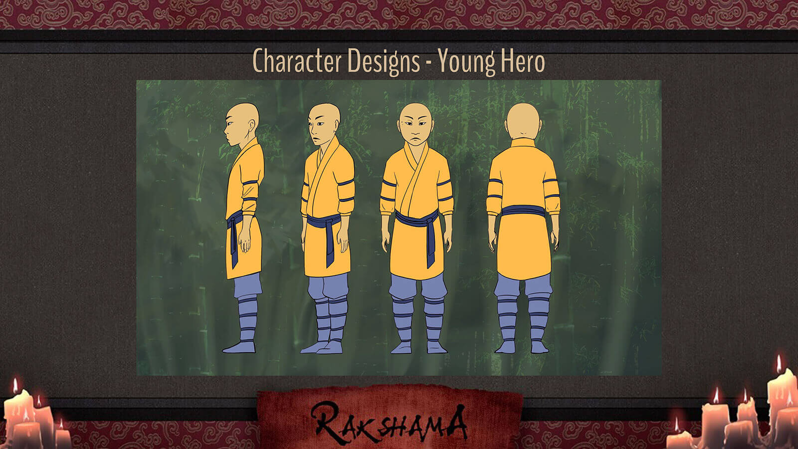 Character Design slide for the film Rakshama, depicting the Young Hero character, a warrior in a yellow and blue clothing