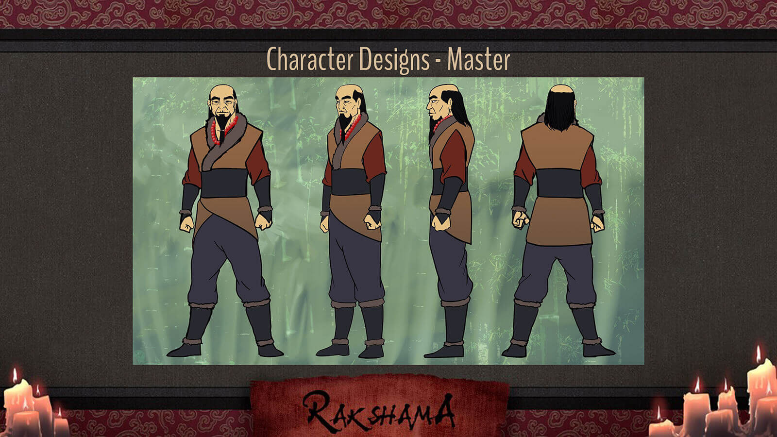 Character Design slide for the film Rakshama, depicting the Master character, a warrior in a brown, blue, and red clothing