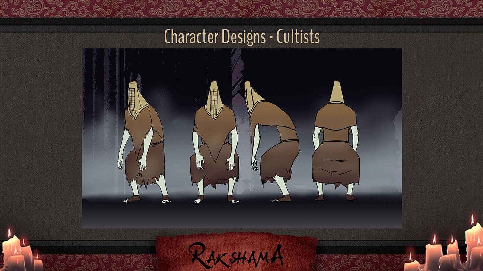 Character Design slide for the film Rakshama, depicting cultist characters, pale figures in brown rags and a wicker helmets