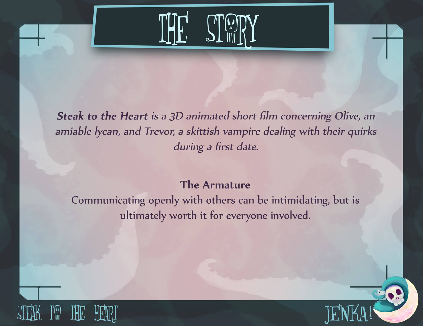 Story slide for the film Steak to the Heart, describing the plot and overall message of the action