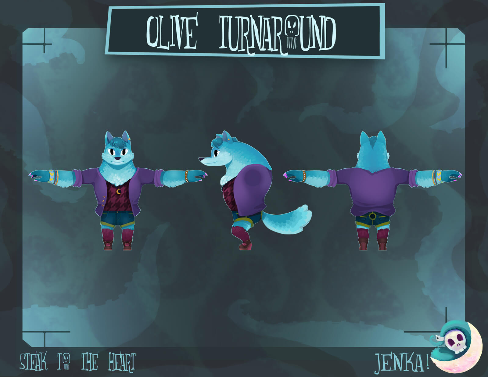 Three final designs of a blue werewolf from the film Steak to the Heart from the front, side, and back