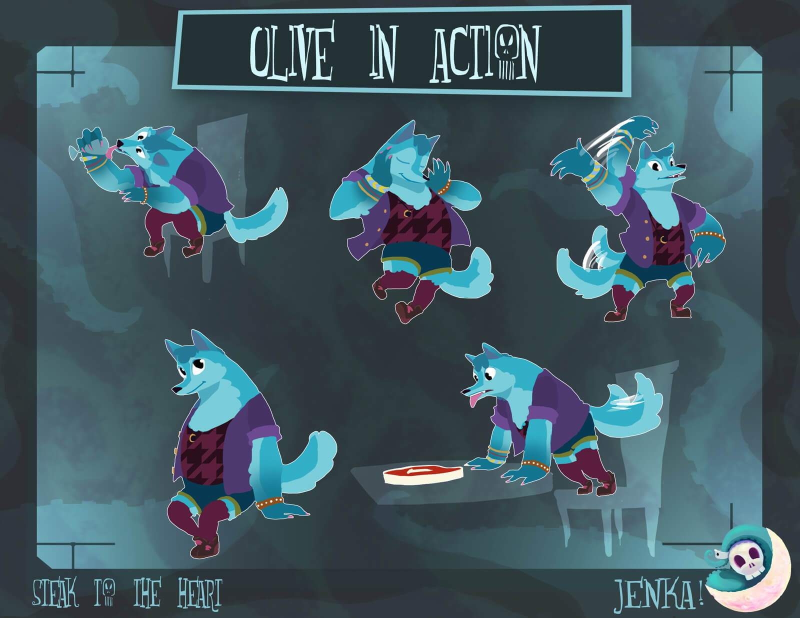 Designs of a blue werewolf in various action poses, such as waving, sitting, licking a cup, and panting