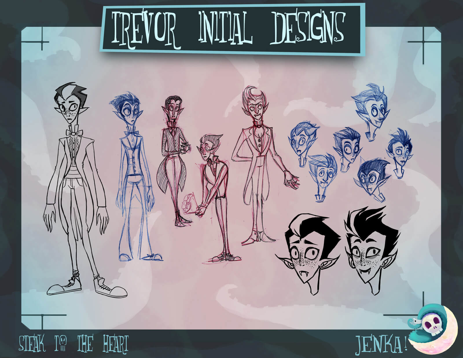 Sketches and drawings of Trevor the Vampire from the film Steak to the Heart in black and white poses