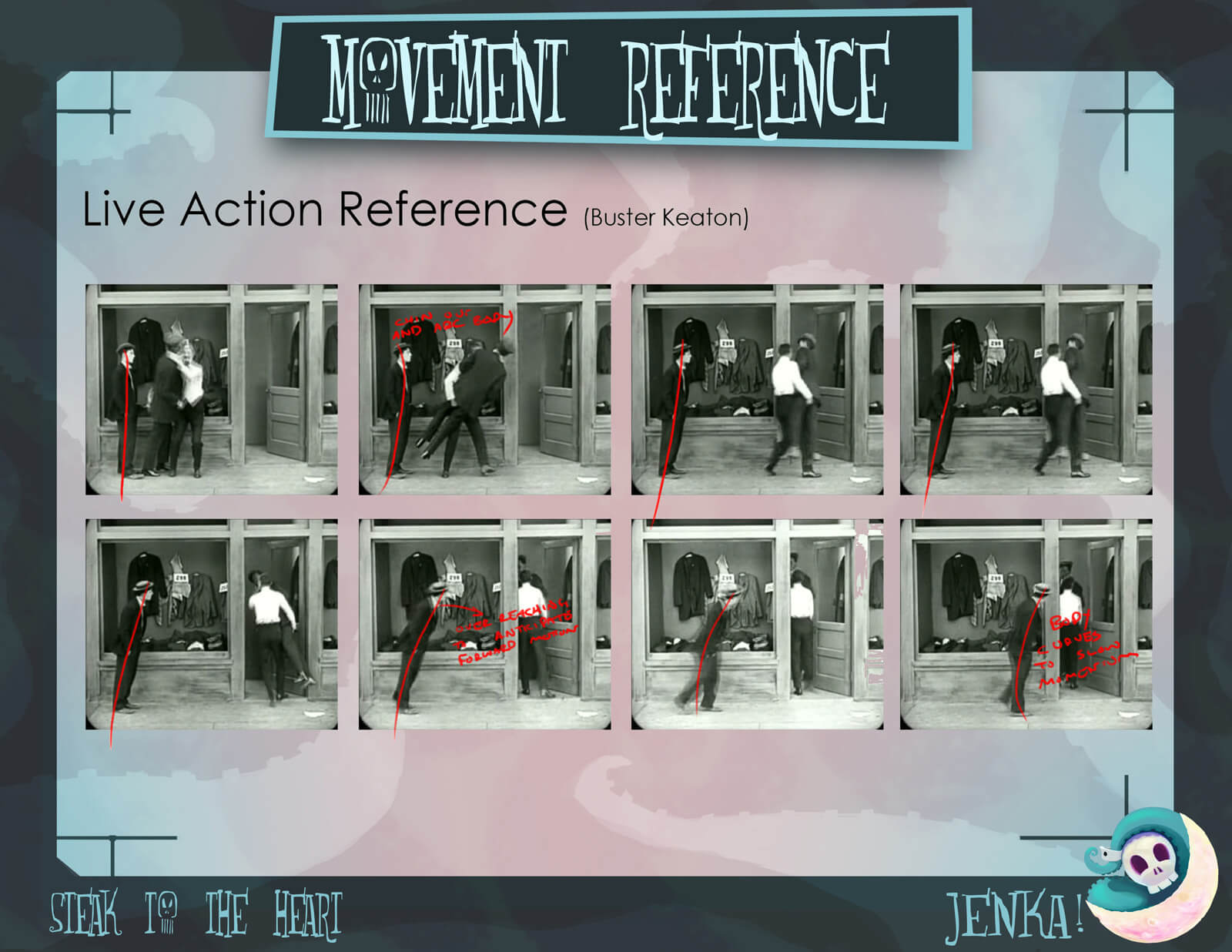 Movement Reference slide for the film Steak to the Heart, depicting 8 images from a Buster Keaton film as a reference