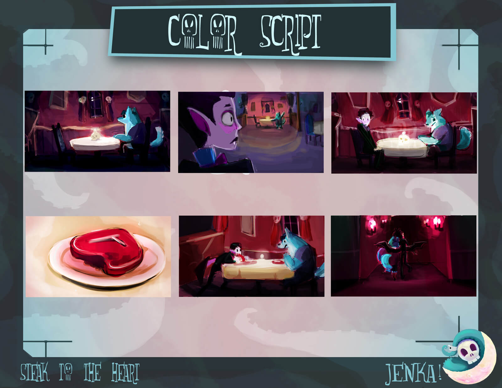 Color Script for the film Steak to the Heart, depicting the story in 6 frames, from beginning to end