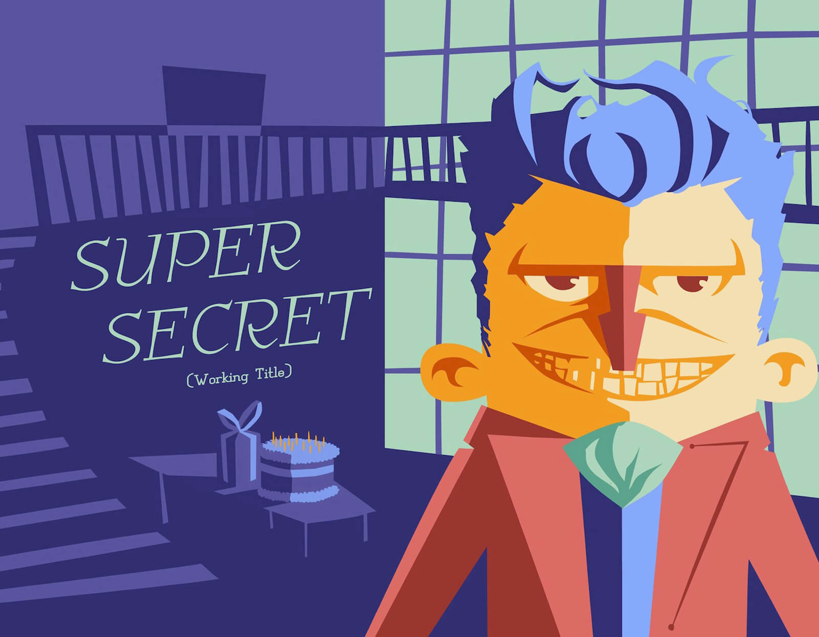 Title card for the film Super Secret with stylized portrait of a blue-haired man with a red suit standing by a birthday cake