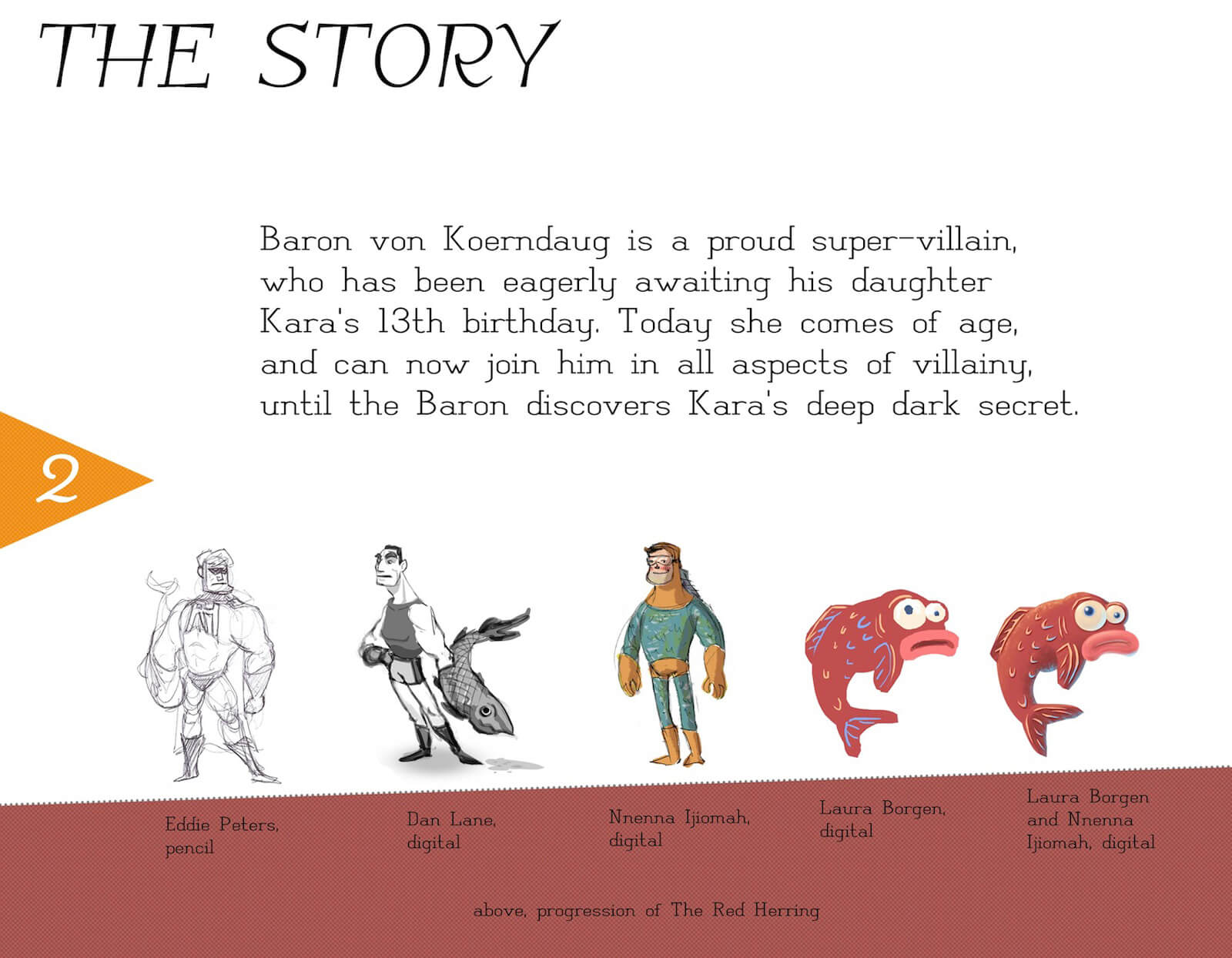 Credit and story slide for the film Super Secret, outlining the plot and concept art