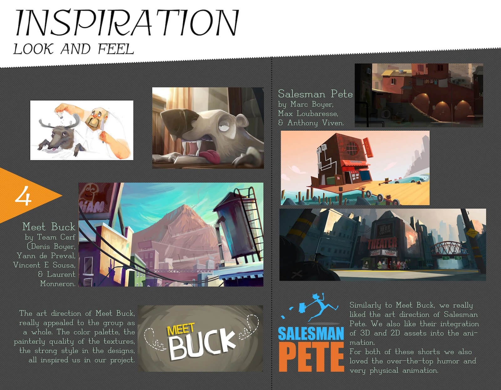 Look and feel inspiration slide for the film Super Secret, depicting reference art from Meet Buck and Salesman Pete