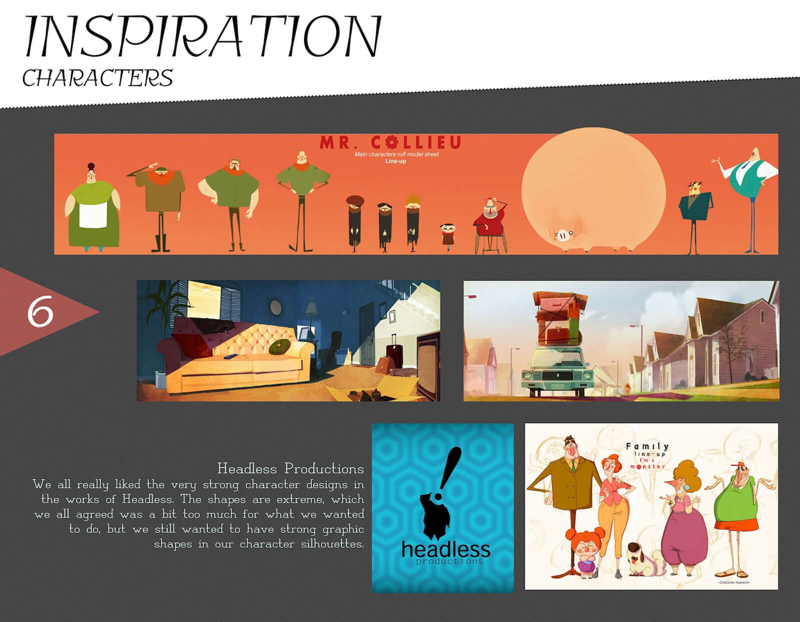 Character design inspiration slide for the film Super Secret, with reference art from Headless Productions