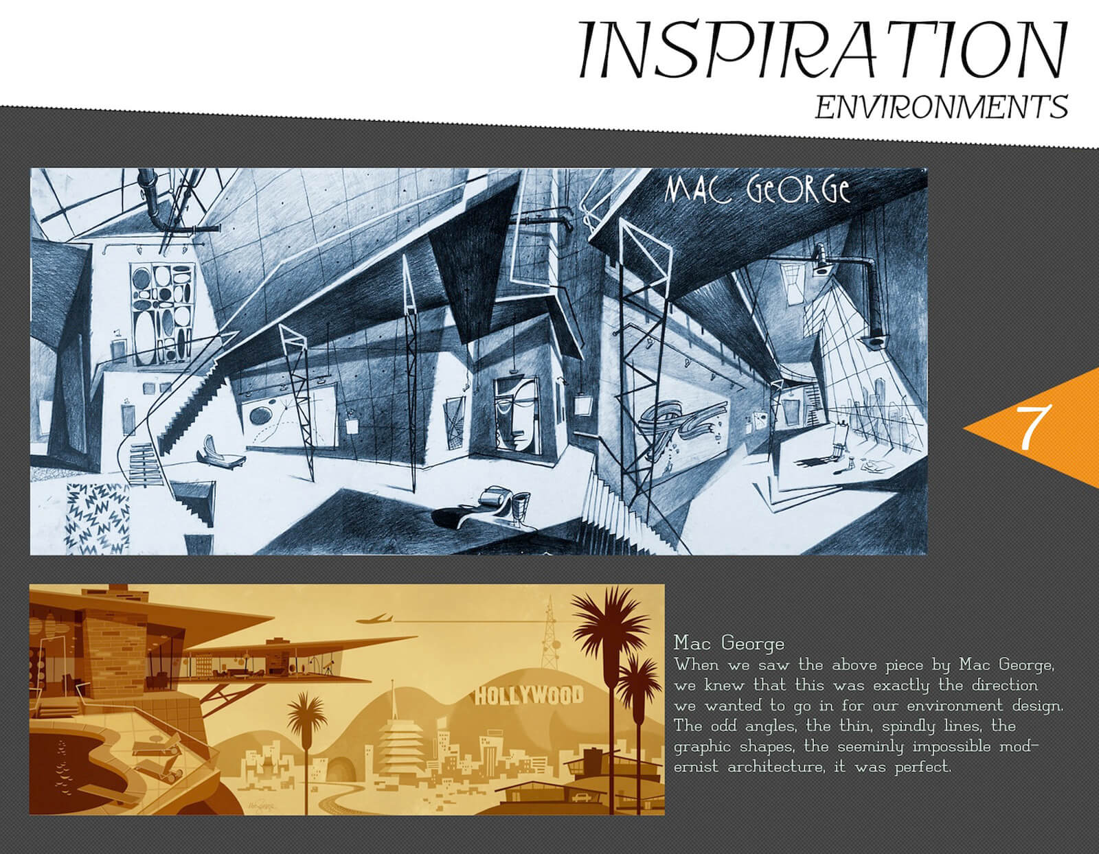 Environment inspiration slide for the film Super Secret, with stylized reference art by Mac George