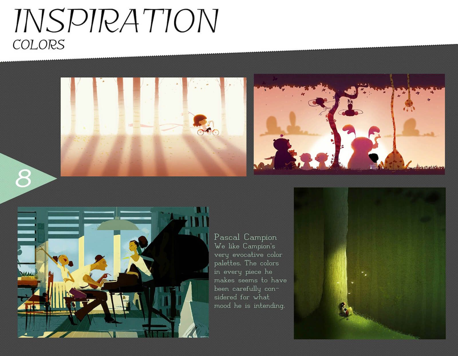Color inspiration slide for the film Super Secret, with references highlighting the color and lighting of Pascal Campion art