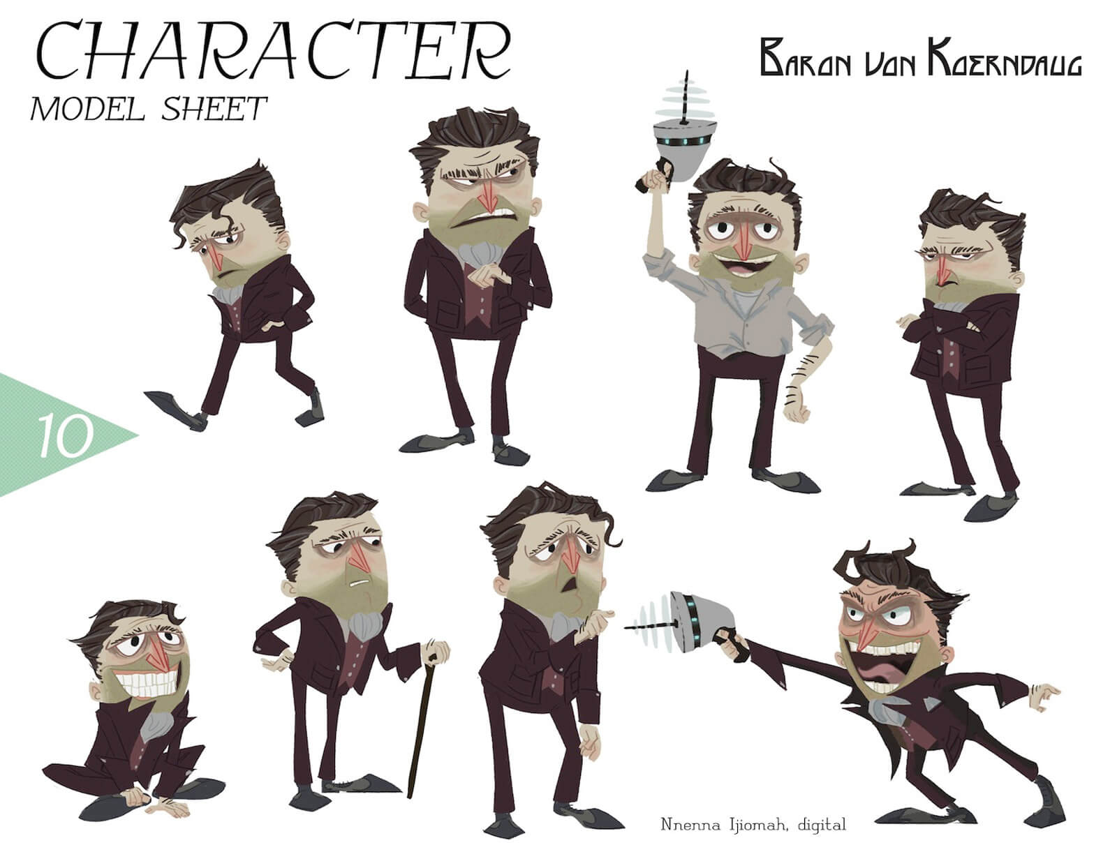 Model sheet for the character of Baron von Koerndaug, including actions and expressions from walking, sitting, sad, and angry