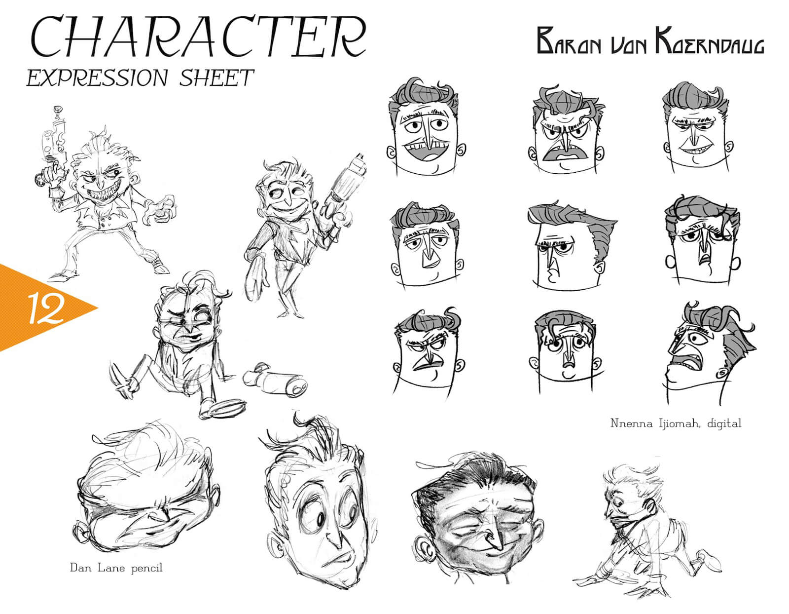 Expression sheet for Baron von Koerndaug, depicting black-and-white sketches of anger, suspicion, sadness, and others