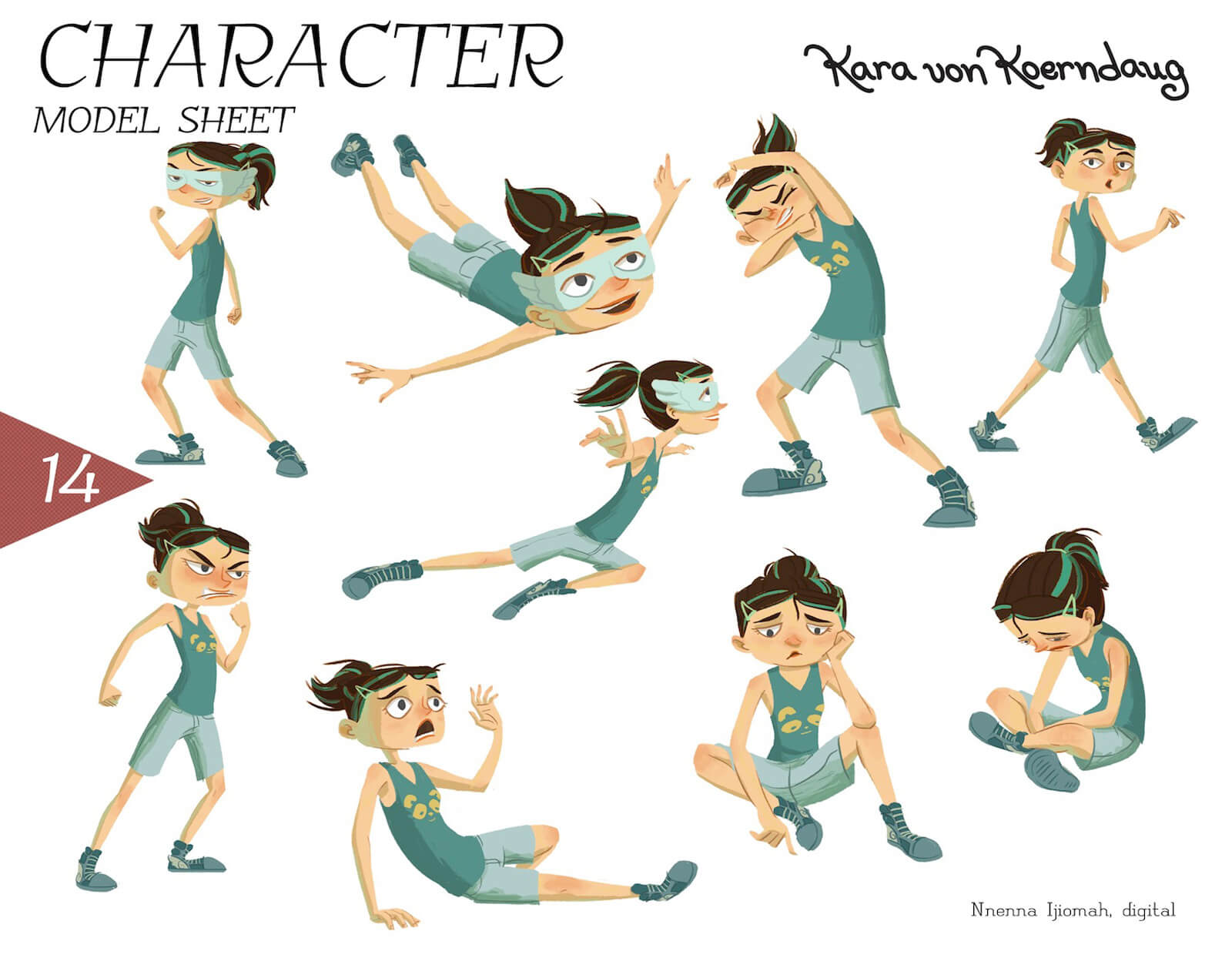 Model sheet for the character of Kara von Koerndaug, including actions like flying, walking, sitting, anger, and others