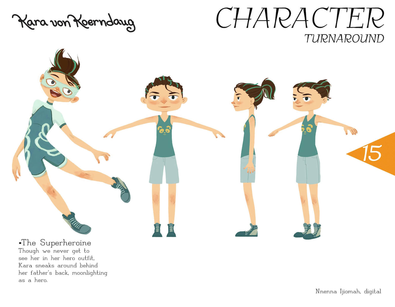 Character turnaround slide for Kara von Koerndaug, showing model from different angles and in superheroine dress