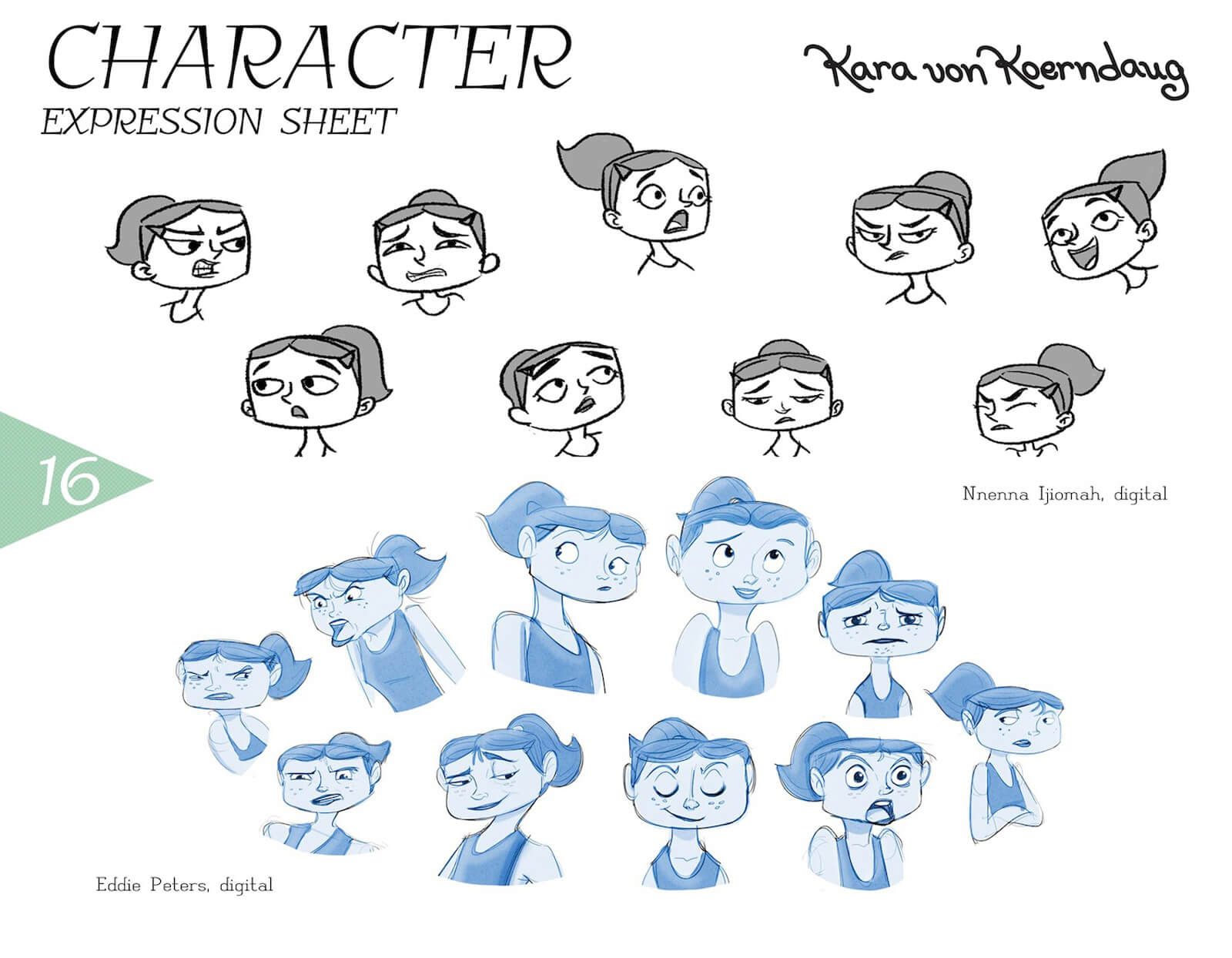 Expression sheet for Kara von Koerndaug, depicting black-and-white sketches of anger, sadness, smugness, and others