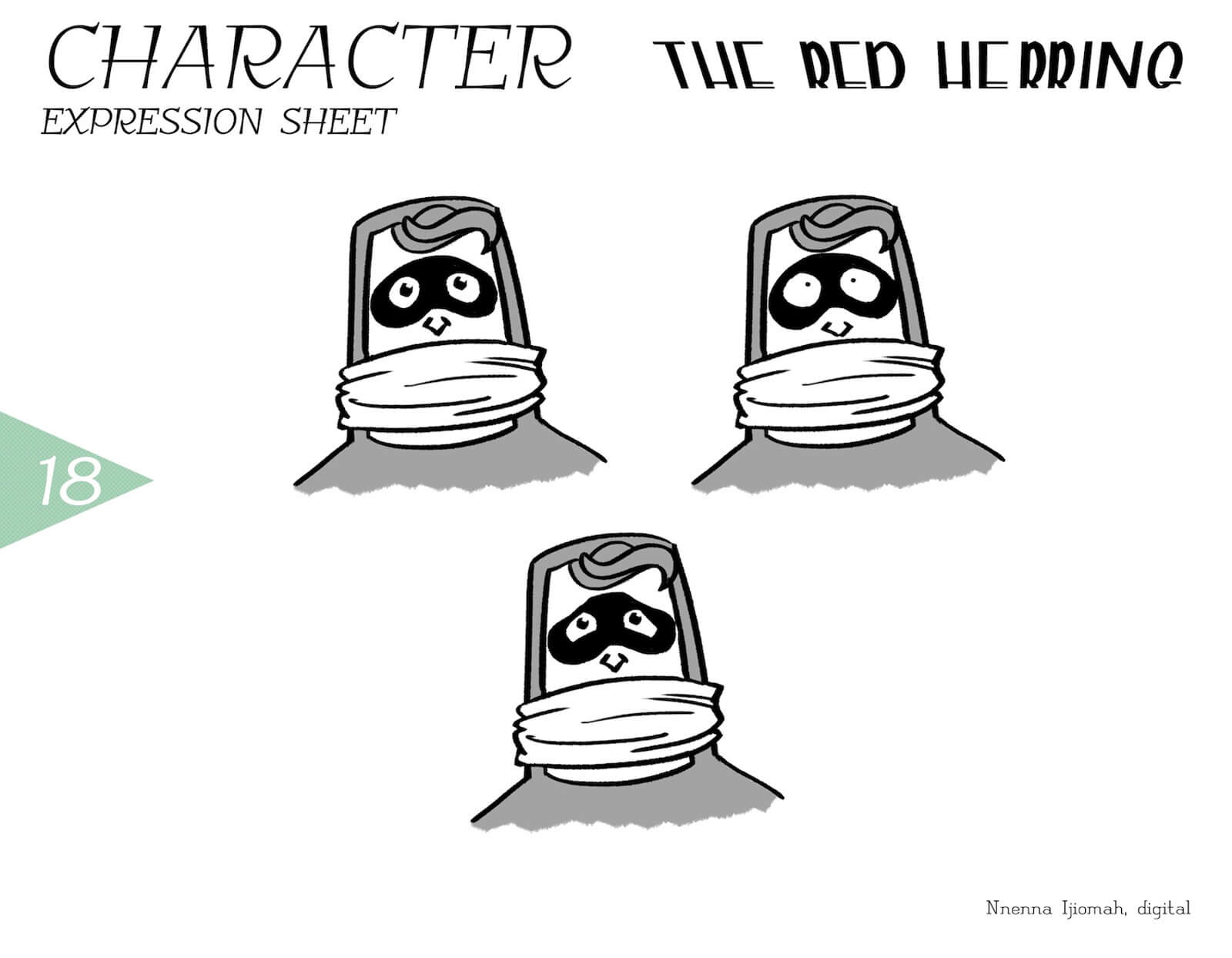 Expression sheet for The Red Herring, depicting black-and-white sketches of surprise and fear