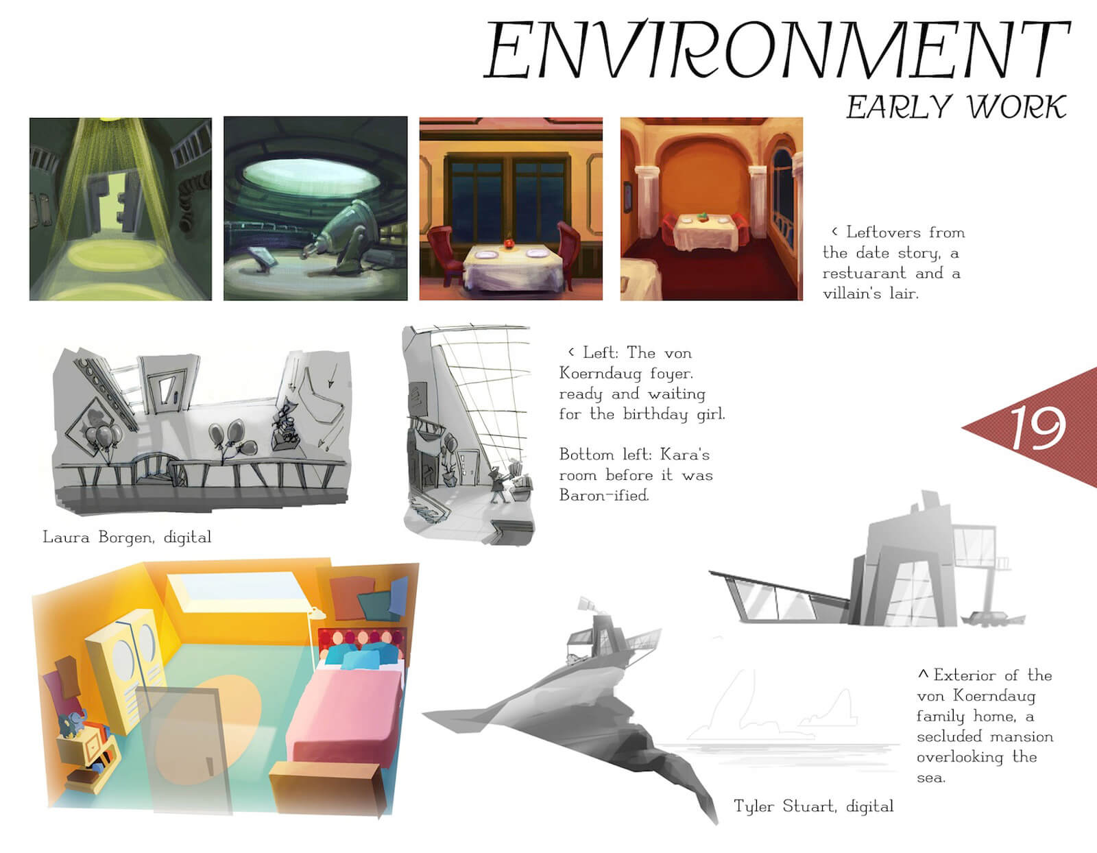 Early concept art of the environment in the film Super Secret, including unused restaurant and villain's lair settings