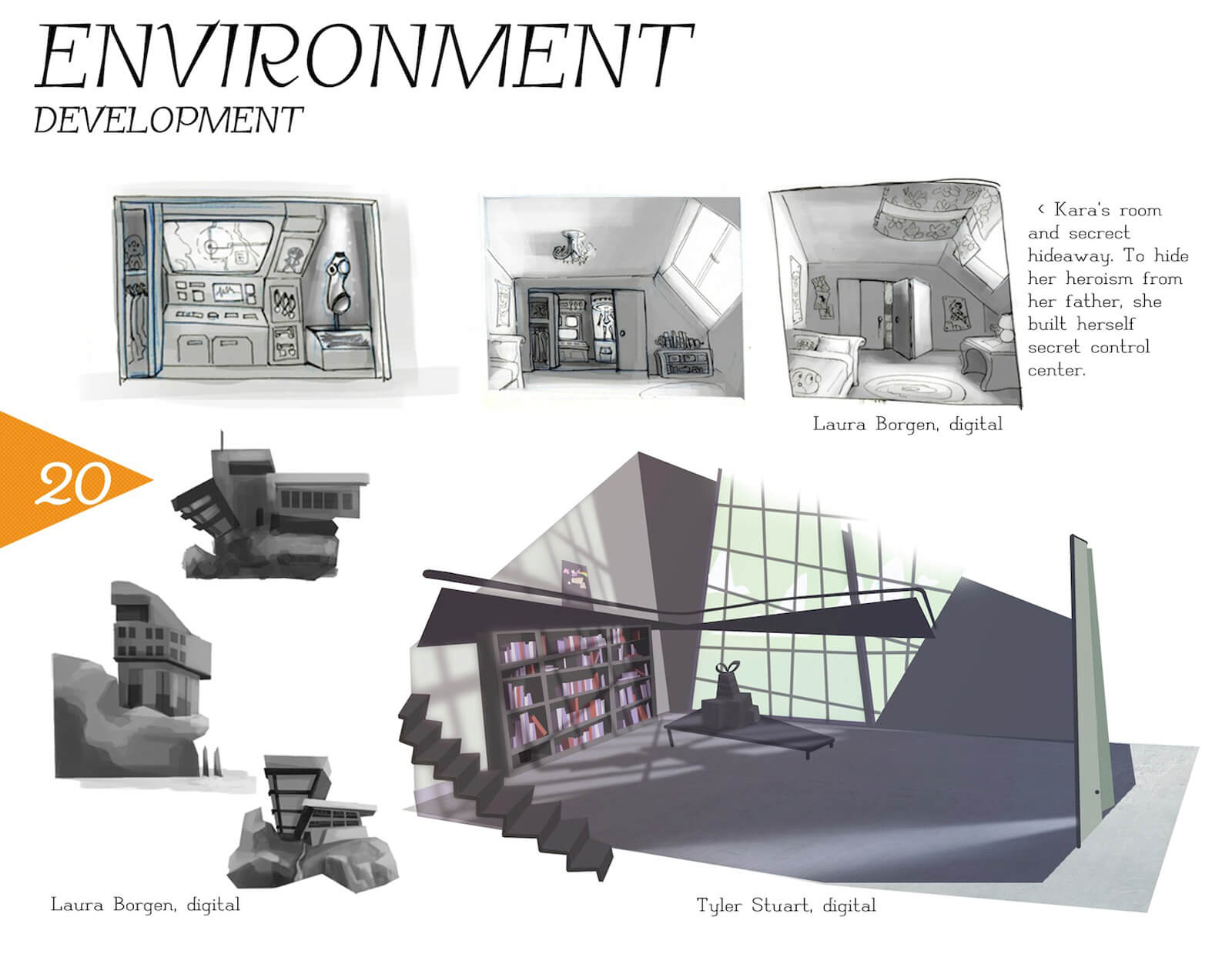 Development slide showing the progression of the loft apartment setting depicted in the film Super Secret