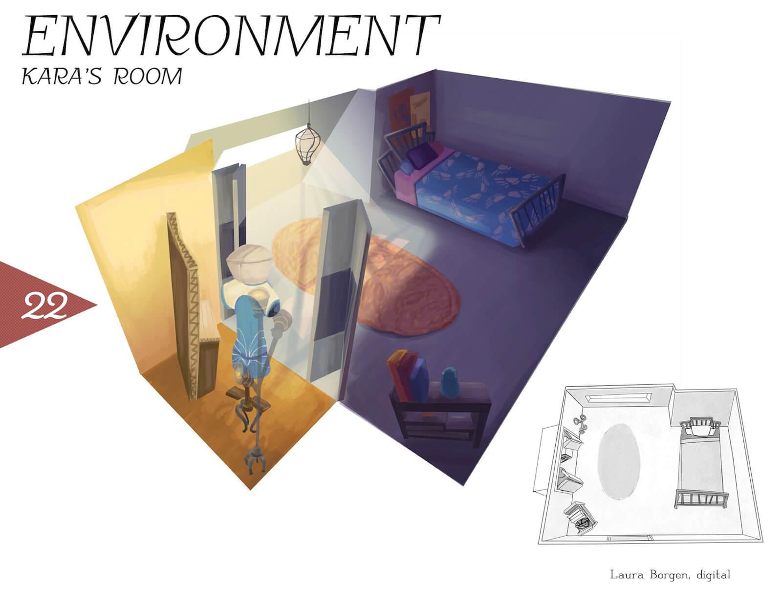 Artwork depicting Kara's room in the film Super Secret, including a bed, rug, closet, and skylight