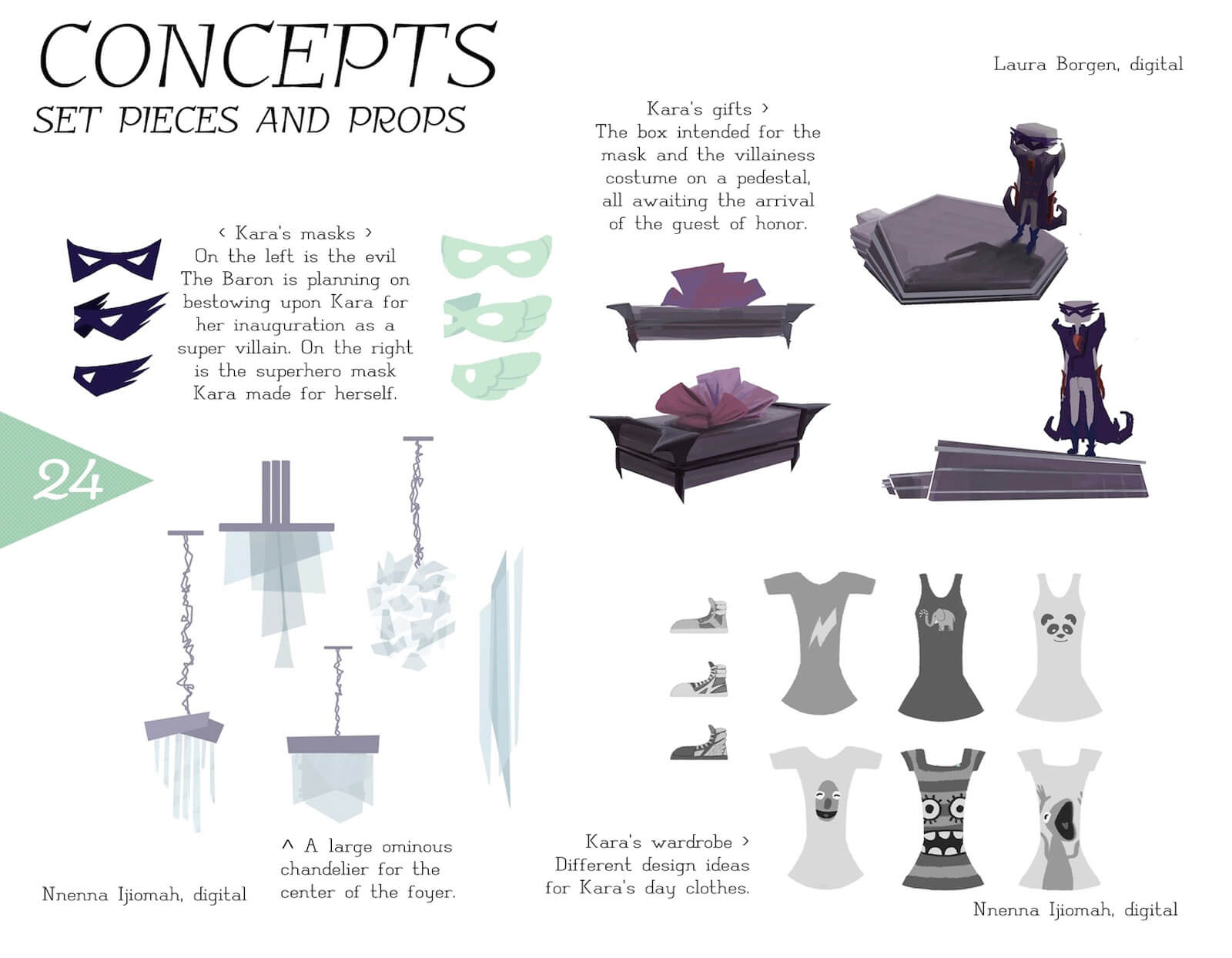 Concept art of props in the film Super Secret including face masks, gift boxes, costumes, and chandeliers