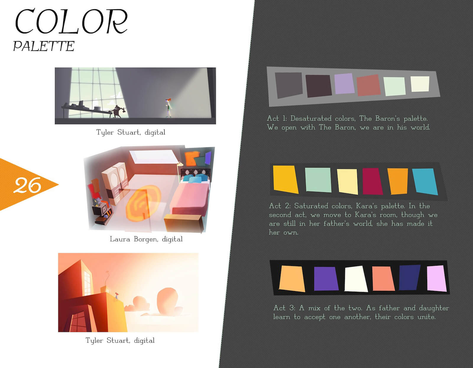 Color palette slide for the film Super Secret, including desaturated and saturated colors from different scenes