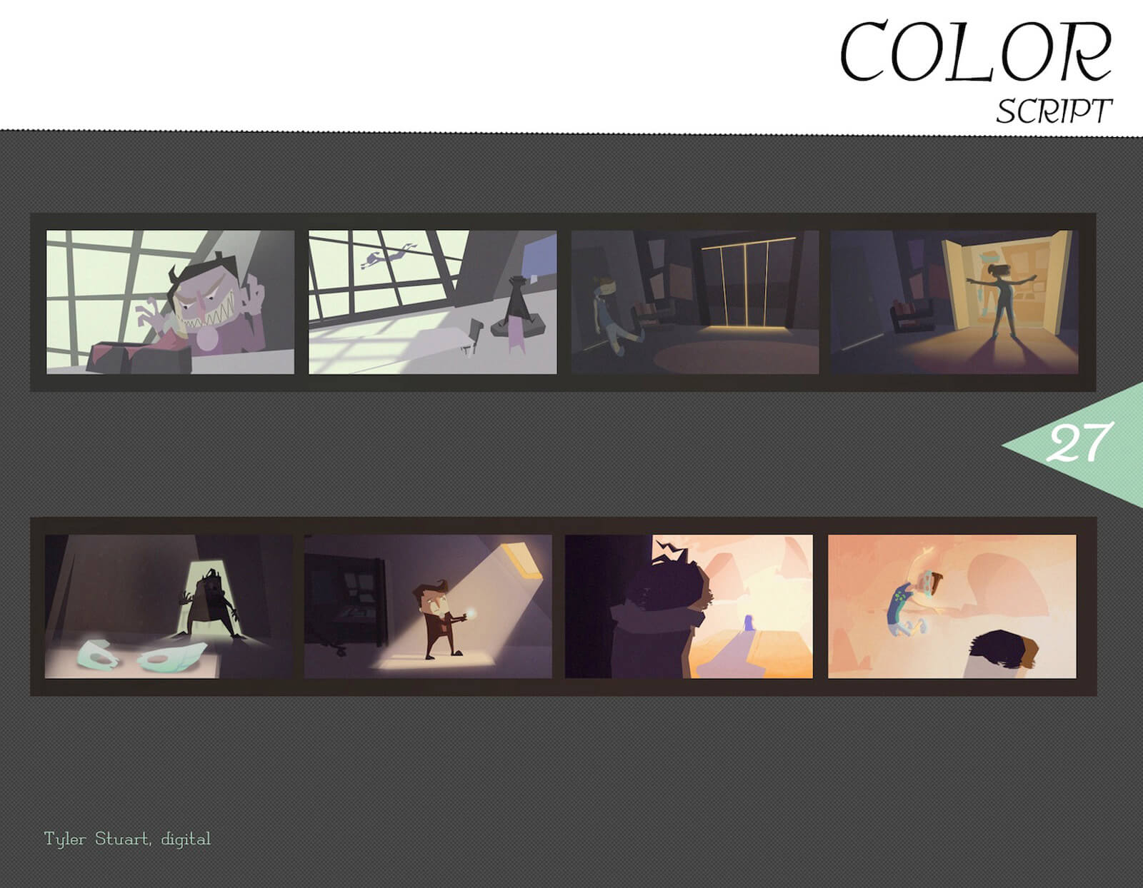 Color Script for the film Super Secret depicting 8 frames of the story from beginning to end