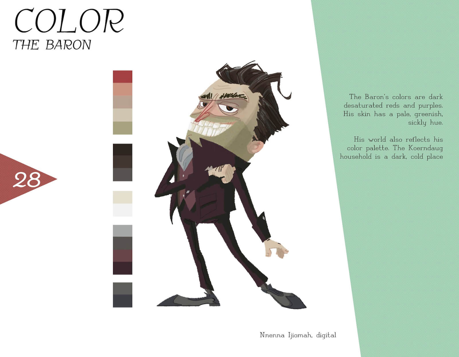 Color profile of the character Baron von Koerndaug, with a posing Baron in a maroon suit