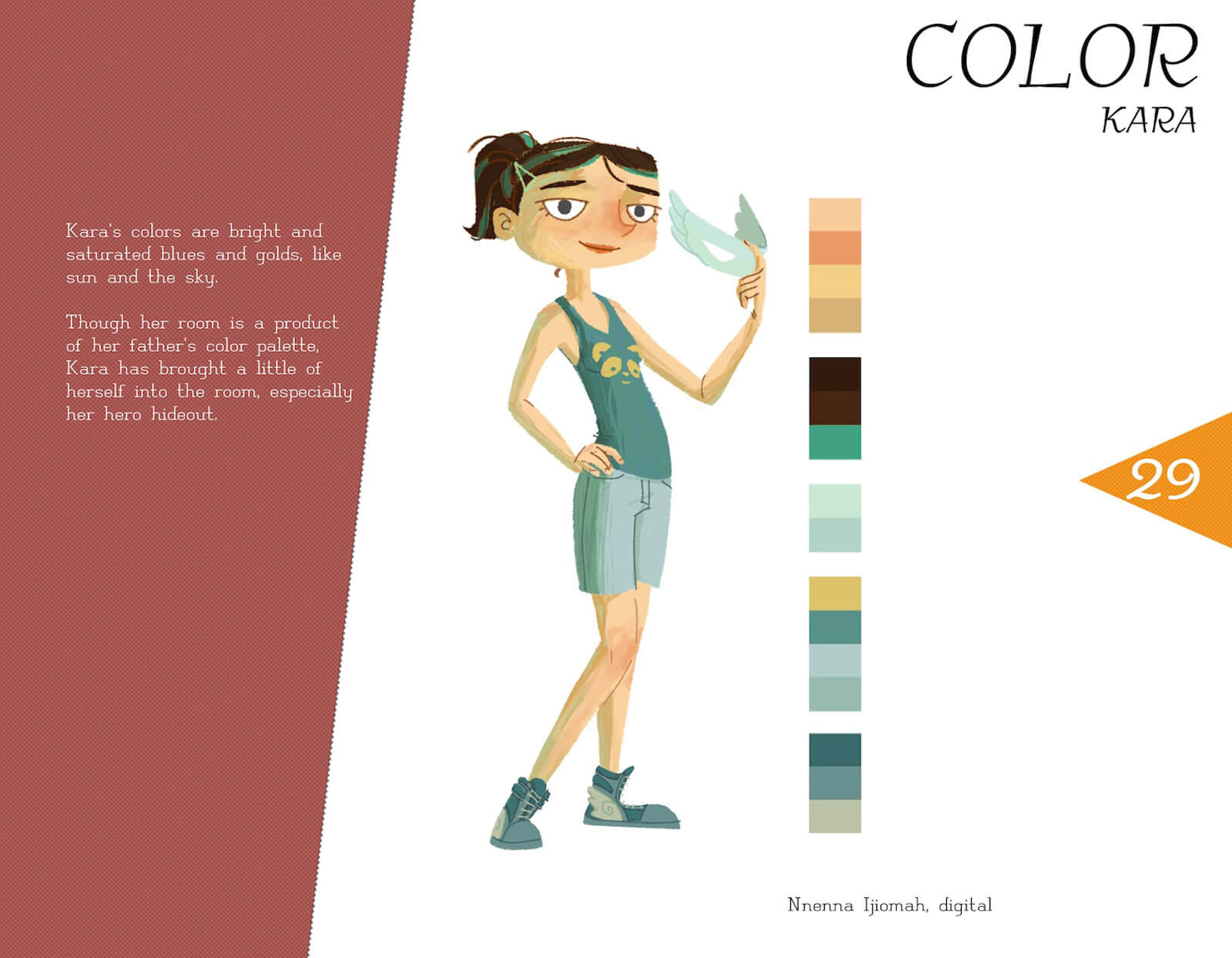 Color profile of the character Kara von Koerndaug, with a posing kara in a teal outfit, holding a light aqua mask