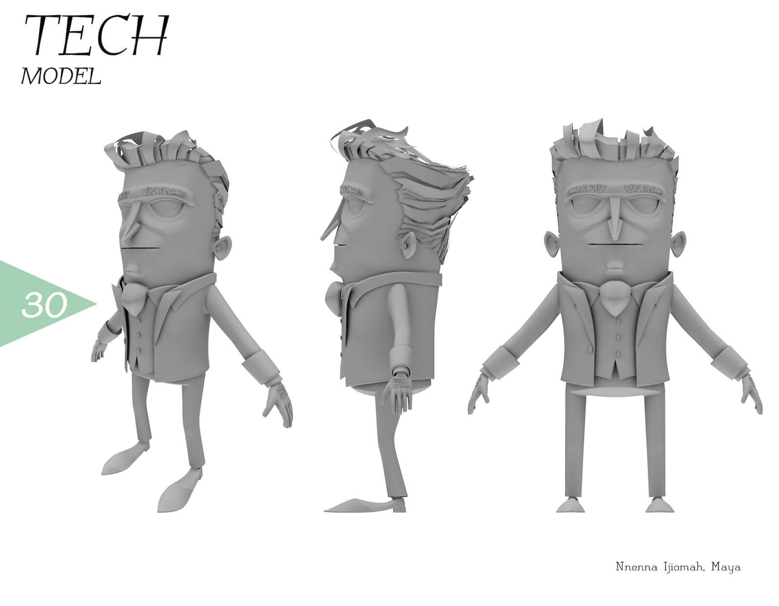 3D tech model of a man with a large head and wearing a suit from different angles. The color of the character is gray.
