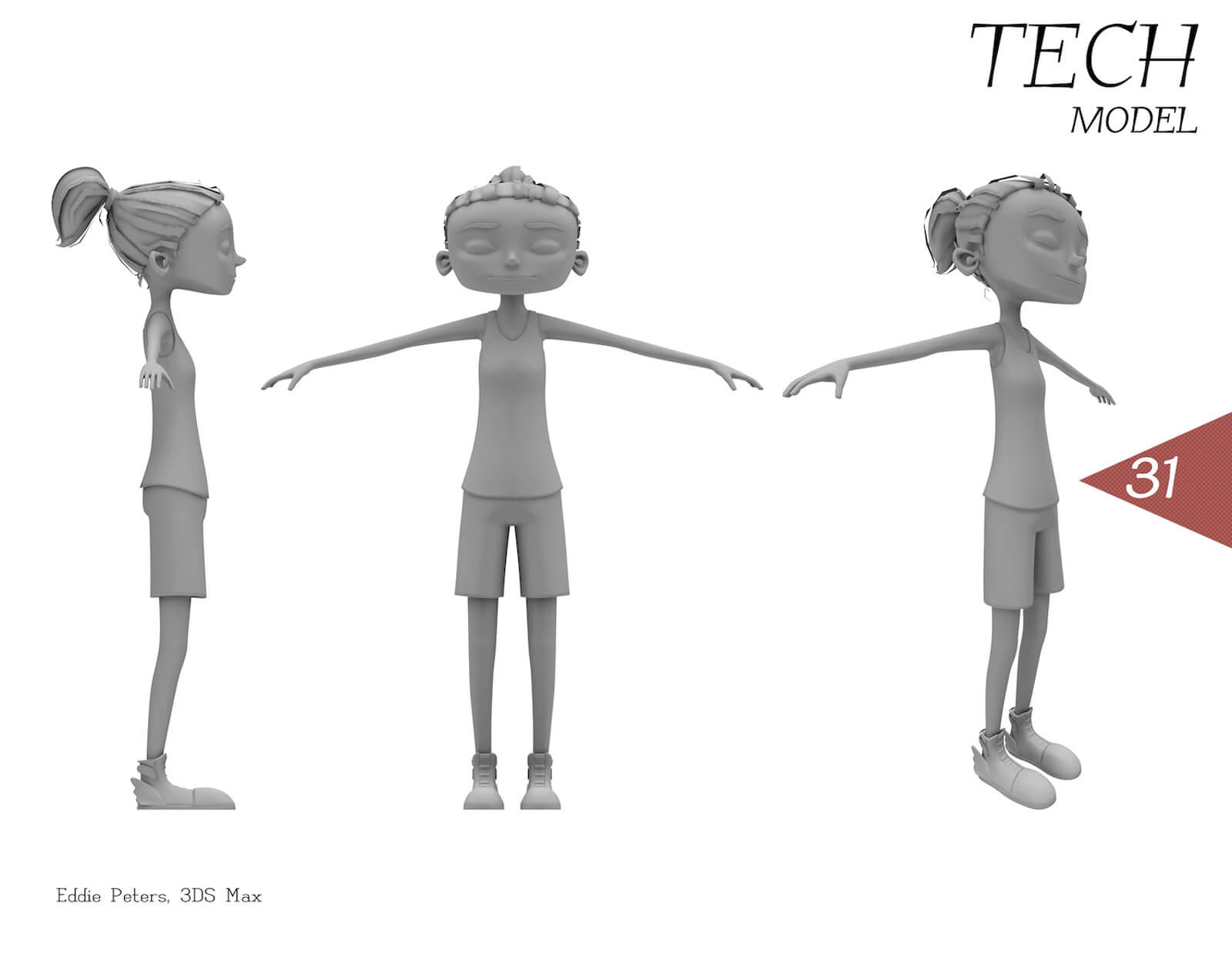 3D model of a girl with in a tank top and shorts from different angles. The color of the character is gray.