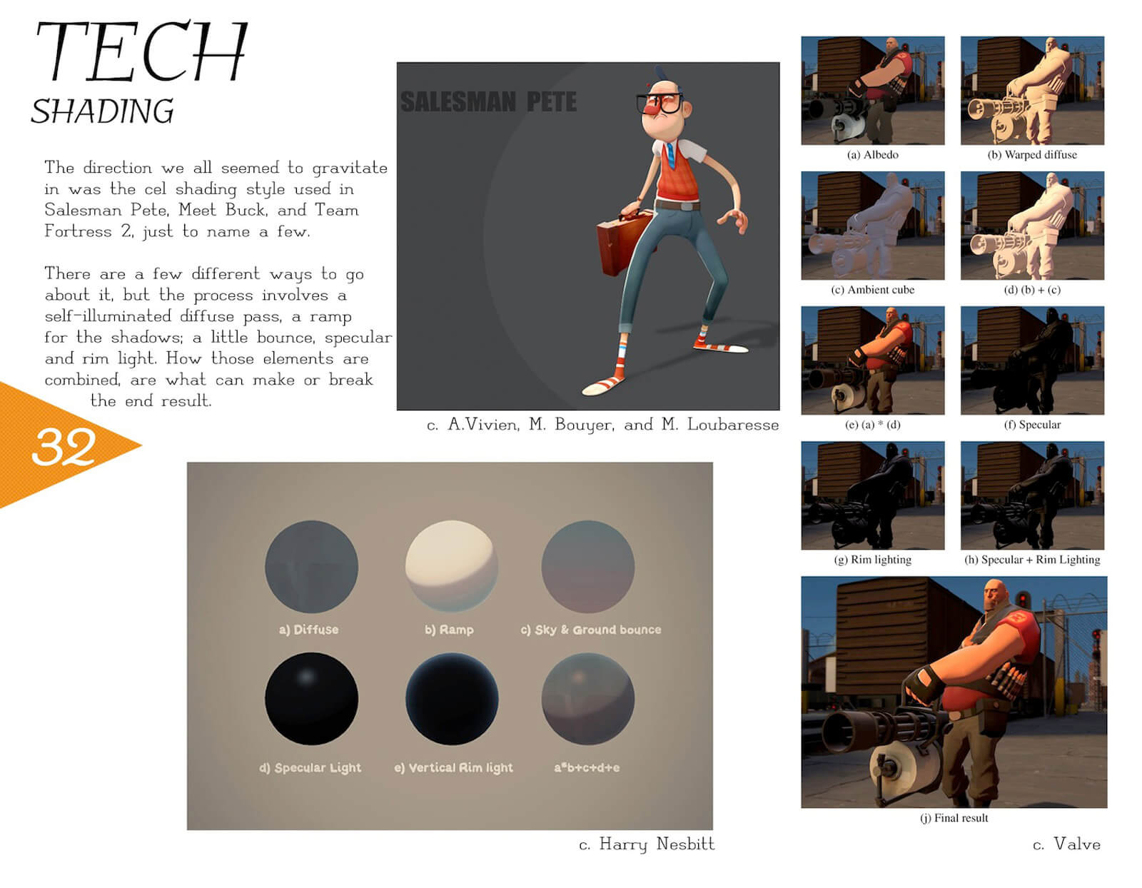 Shading slide for the film Super Secret describing the various shading effects at work on the characters