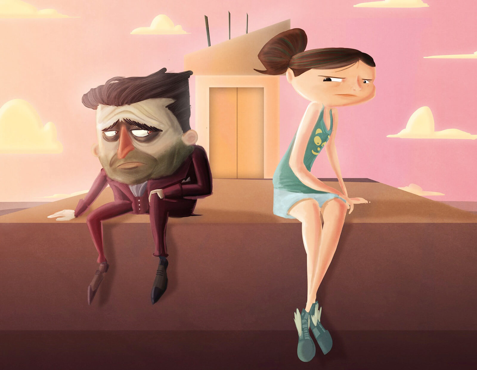 Concept art for the film Super Secret, a large-headed man in a maroon suit sits next to a taller girl in a teal tank top