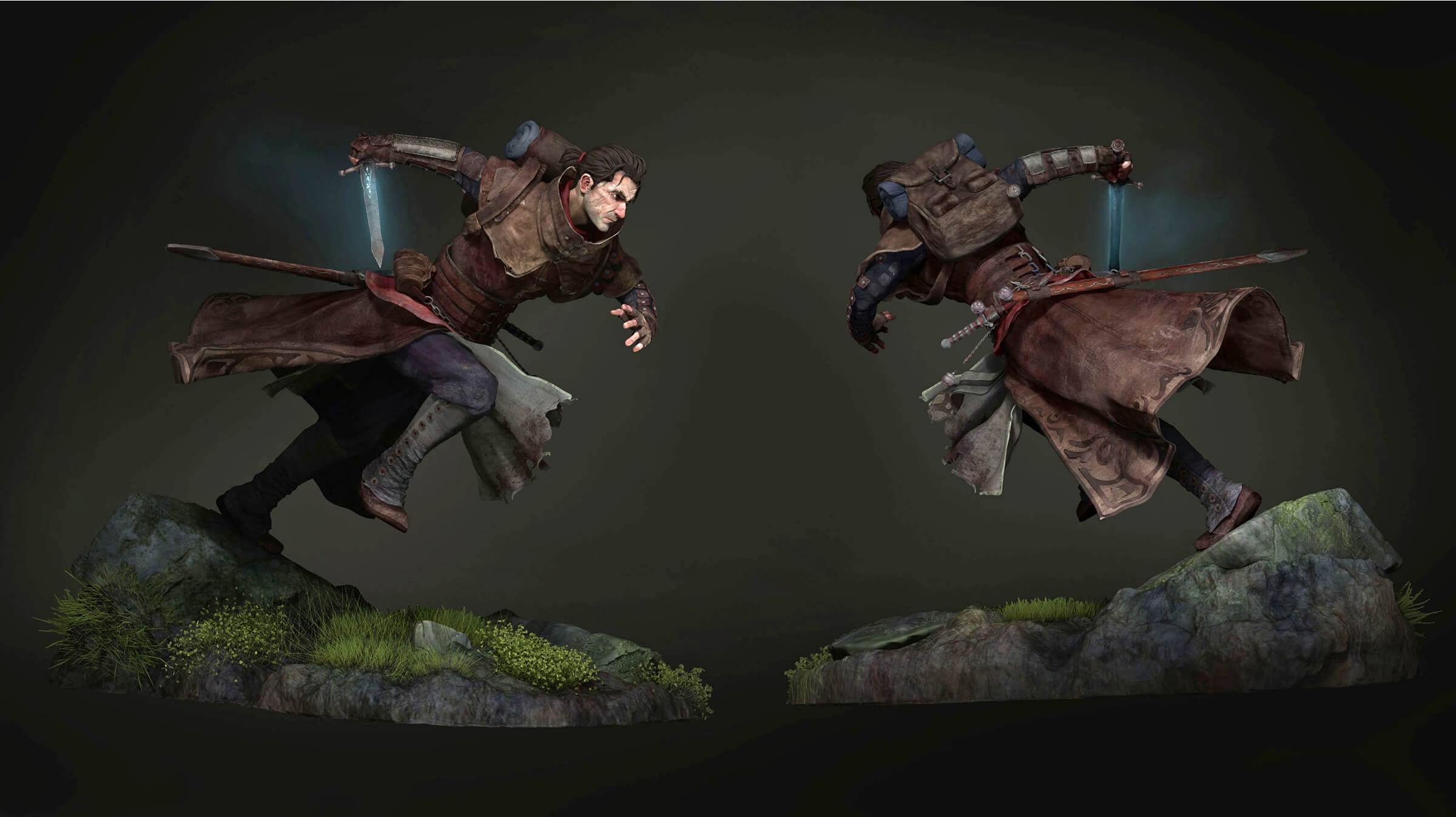 computer-generated 3D model of a male soldier character running with a sword