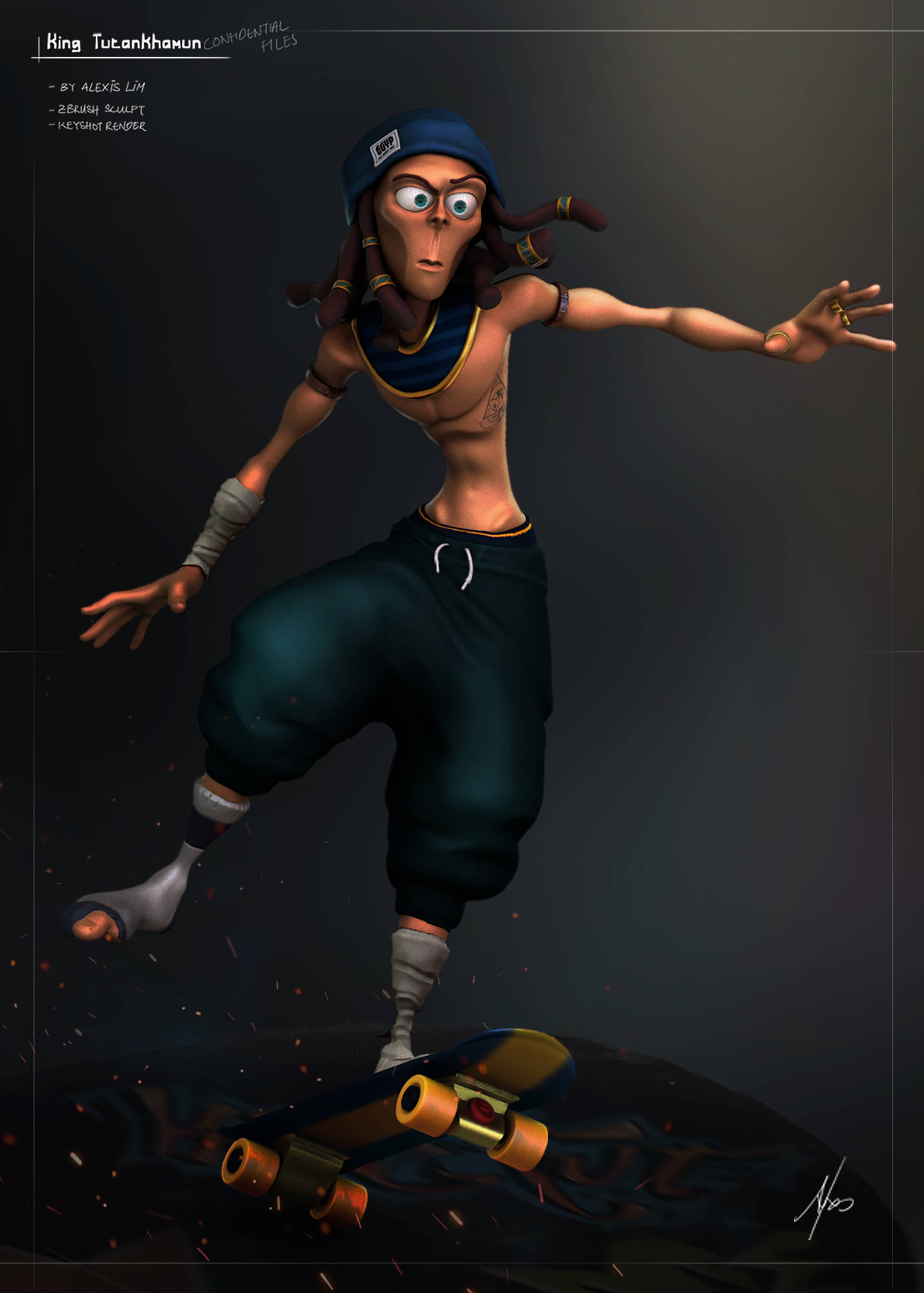 King Tut as a skateboarder with sweatpants and dreadlocks