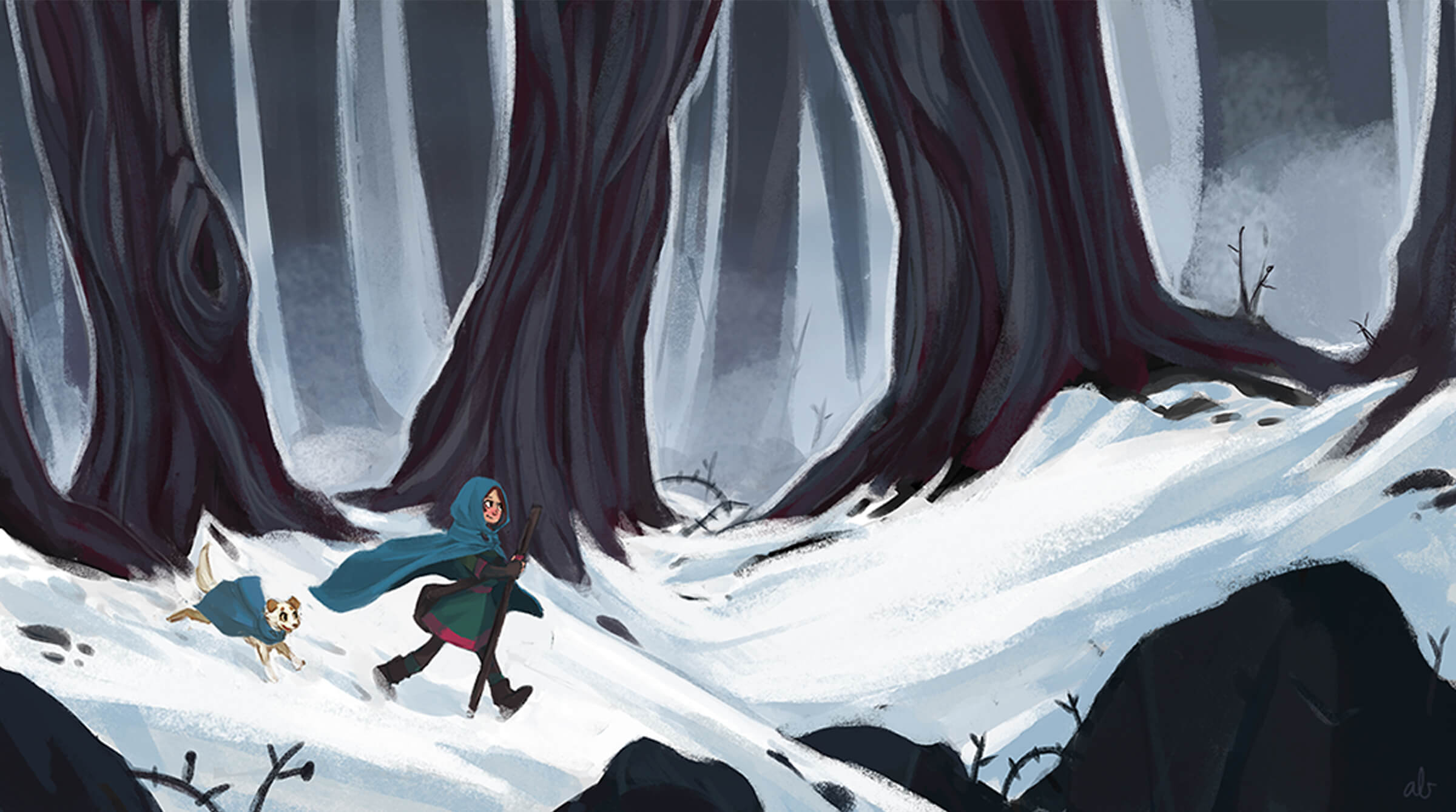 digital painting of a girl and her dogs, both in blue capes, walking through a snowy forest