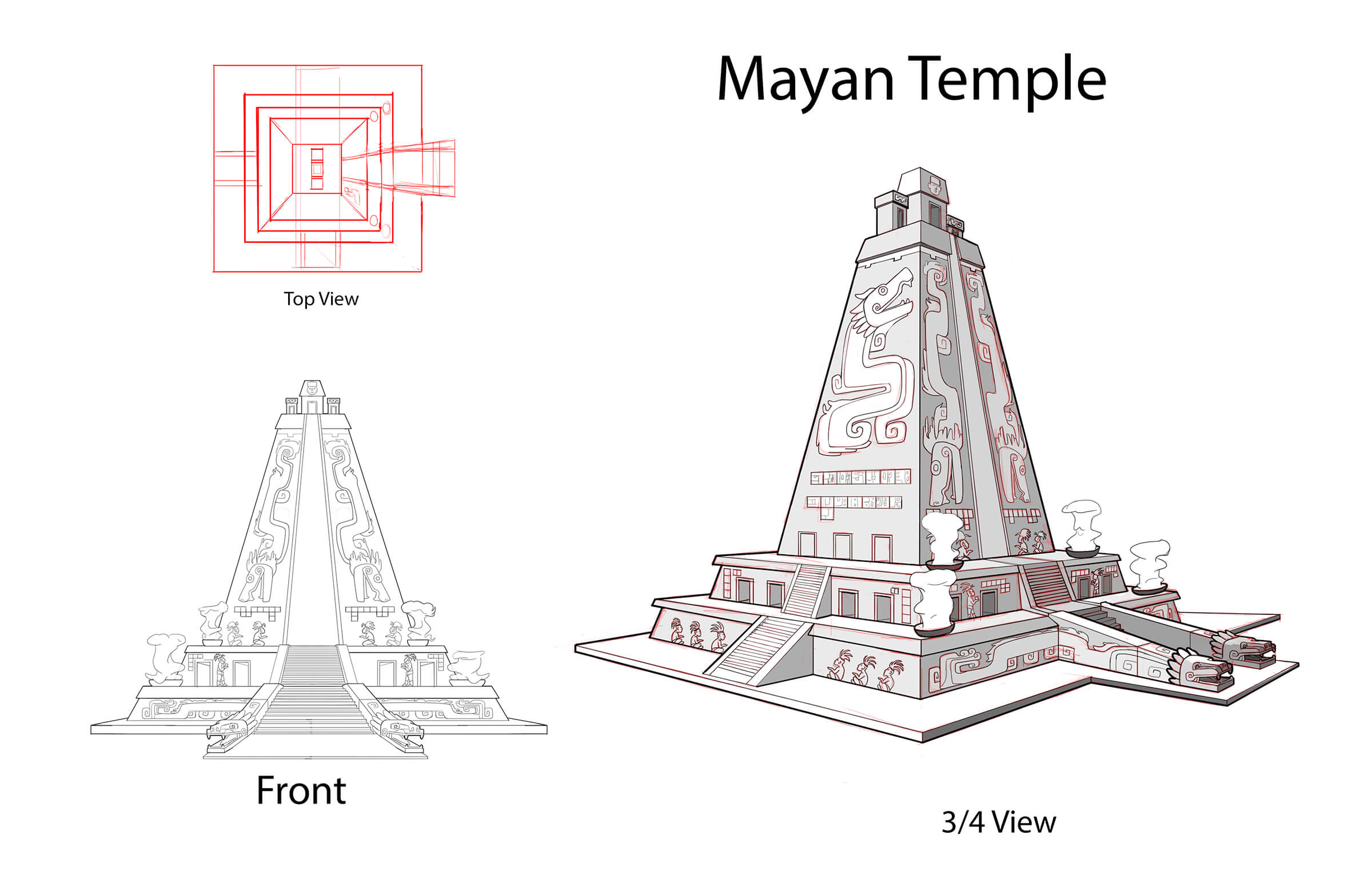 Multiple sketched views of a Mayan temple