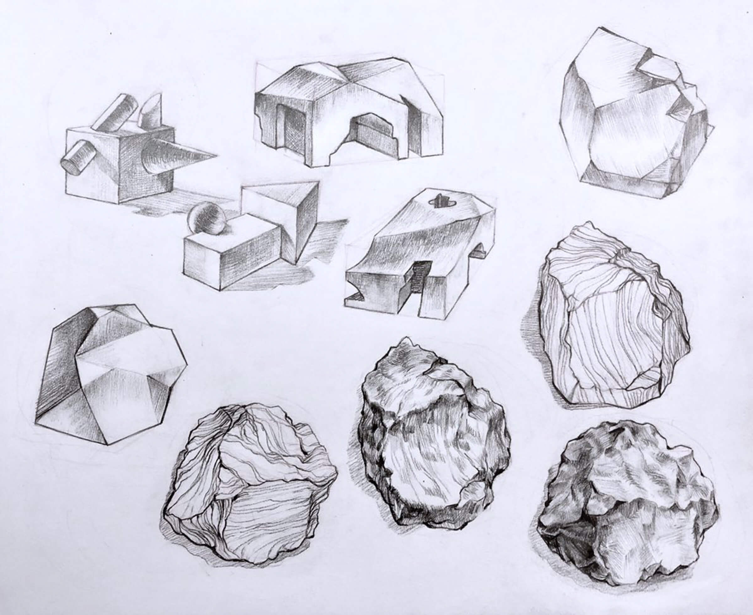 A series of pencil drawings of rocks and geometric shapes