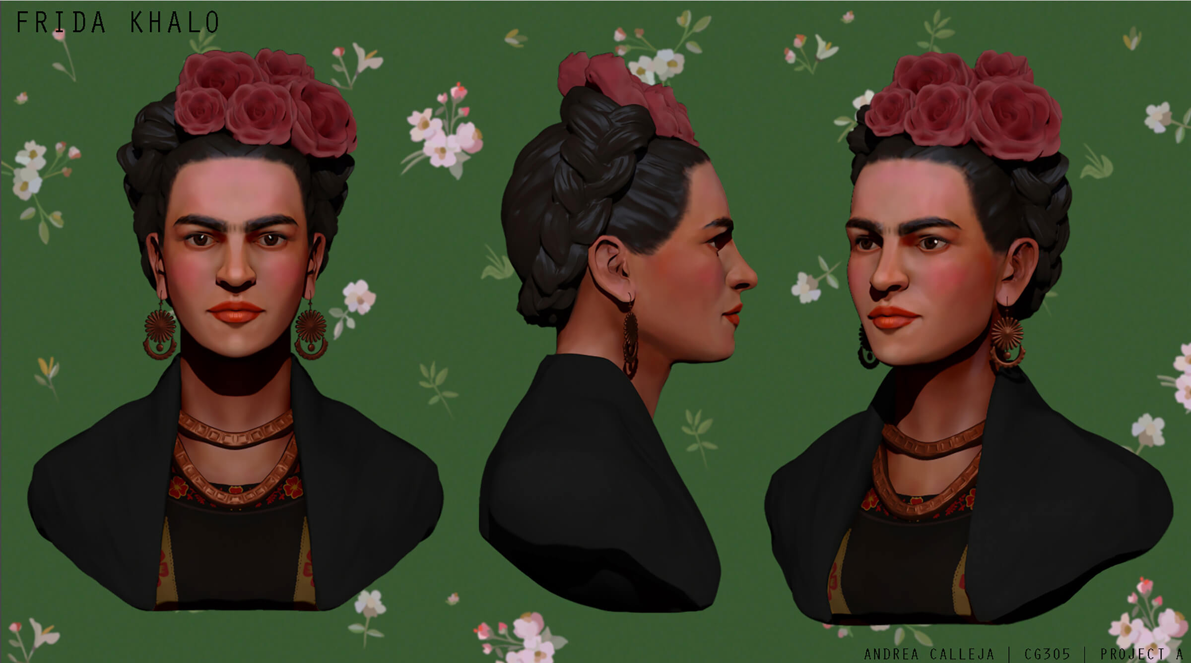 computer-generated 3D portrait of Frida Kahlo with 3 views: head-on, profile, and partial profile