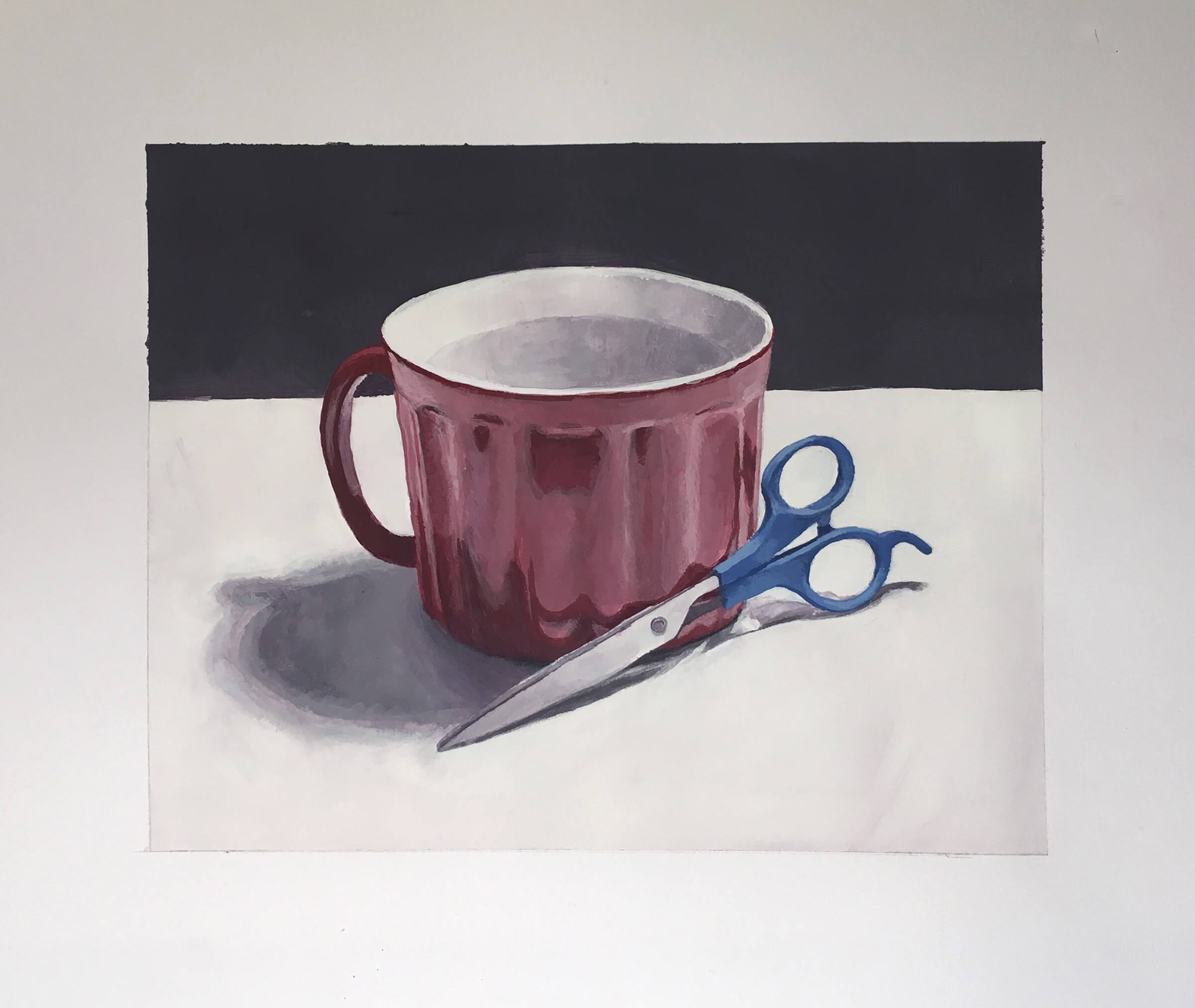 still-life traditional painting of a red mug and blue-handled scissors